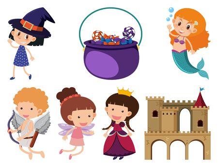 Set of isolated objects theme fairytales illustration 일러스트