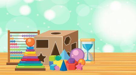 Many toys on wooden floor illustration