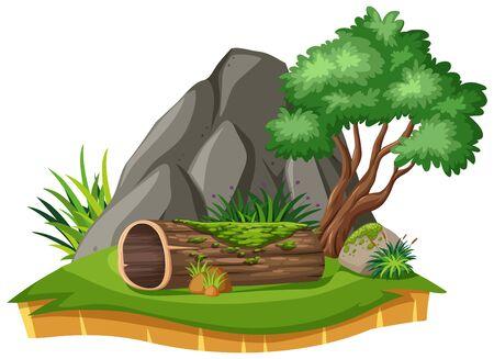 Paysage naturel du parc avec illustration de bûche et d'arbre
