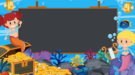 Border template with underwater theme in background illustration