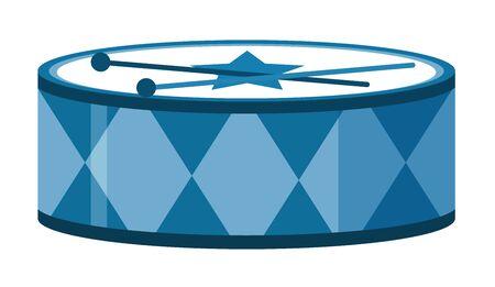 Isolated drum in blue color illustration Ilustración de vector