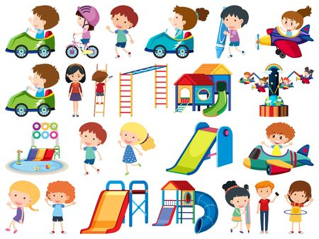 Large set of isolated objects of kids and playground illustration