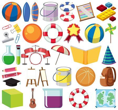 Conjunto de ilustración de escuela de tema de objetos aislados Ilustración de vector