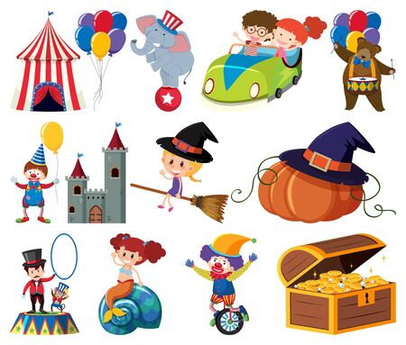Set of fairytale characters and circus items illustration