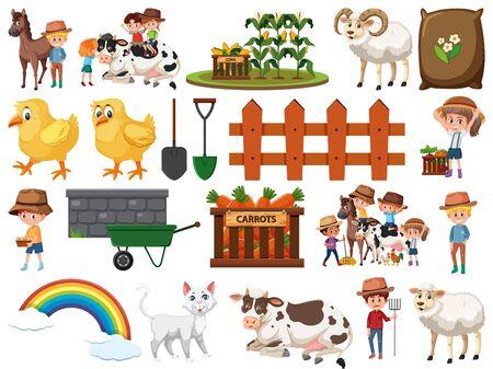 Large set of isolated farm objects illustration Ilustração