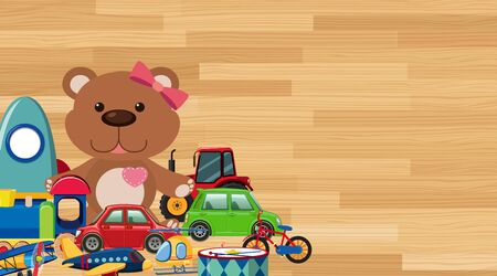 Background design with toys on wooden wall illustration Illustration