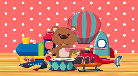 Room with many toys on wooden floor illustration
