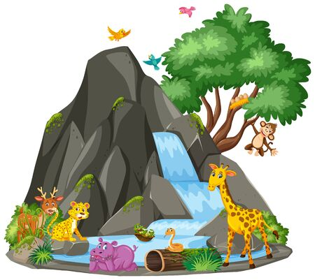 Background scene of animals at the waterfall illustration
