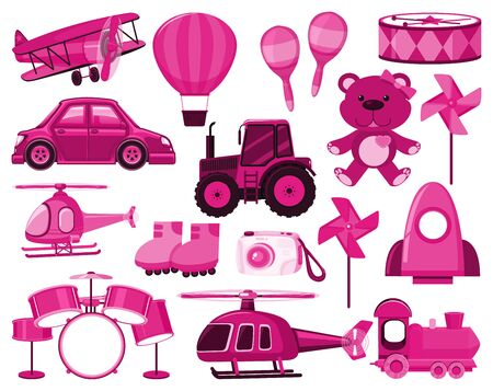 Large set of different objects in pink color illustration Illustration