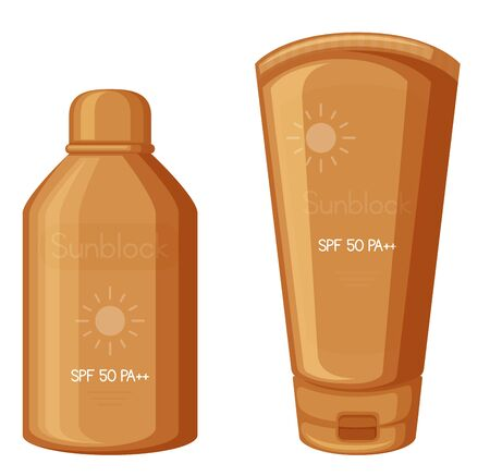 Sunscreen lotions in orange bottle and tube illustration