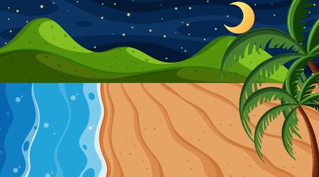 Nature scene with ocean at night illustration