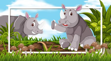Frame design with rhinos in the woods background illustration