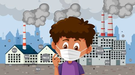 Boy wearing mask standing in front of factory buildings illustration Vectores