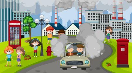 Scena con automobili e fabbricati che fanno fumo sporco nell'illustrazione della città