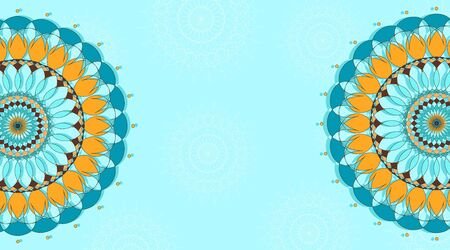 Background template with mandala patterns design in blue illustration