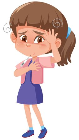 Sick girl with high fever and headache on white background illustration Vector Illustration