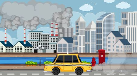 Scene with smoke coming out of the factories and cars in the city illustration Illustration