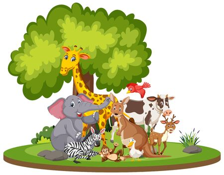Scene with cute animals in the park illustration Vector Illustration
