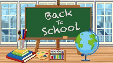 Background with back to school board in the room illustration
