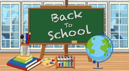 Fondo con tablero de regreso a la escuela en la ilustración de la habitación