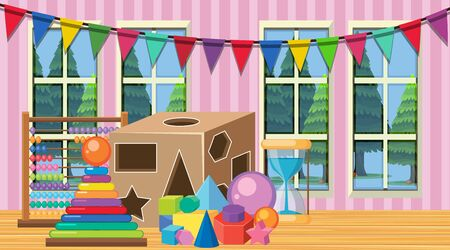Room with wooden shapes and blocks on the floor illustration