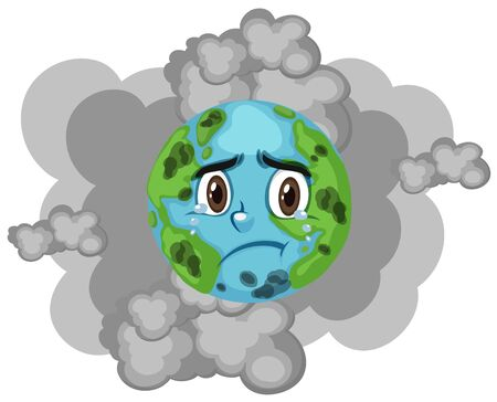 Pollution on earth with dirty smoke in background illustration