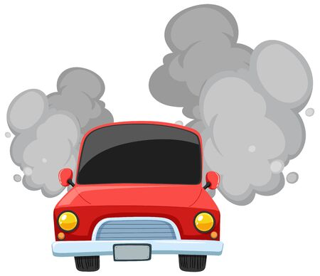 Red car making dirty smoke on white background illustration Ilustração