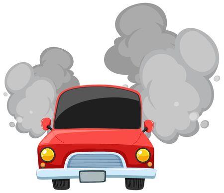 Red car making dirty smoke on white background illustration Illustration