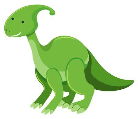 Single picture of parasaurolophus in green illustration  イラスト・ベクター素材