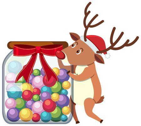 Reindeer holding jar of candy illustration
