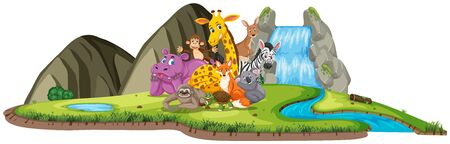 Scene with many animals by the waterfall at day time illustration