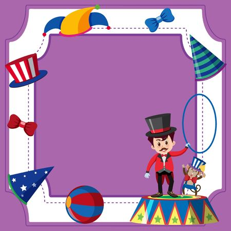 Frame template with ring master and monkey illustration