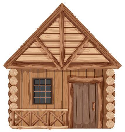 Cabaña de madera con una puerta y una ventana ilustración Ilustración de vector