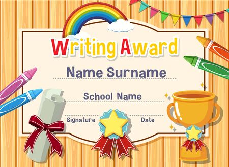Certificate template for writing award with crayons and trophy in background illustration