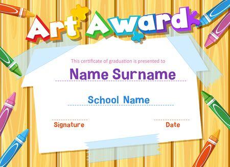 Plantilla de certificado para premio de arte con crayones en la ilustración de fondo Ilustración de vector