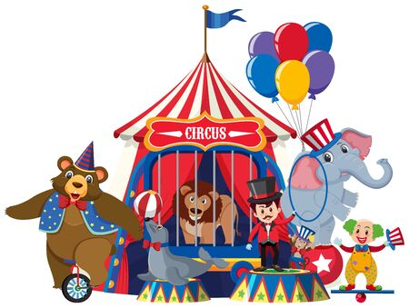 Ring master and circus animals on white background illustration