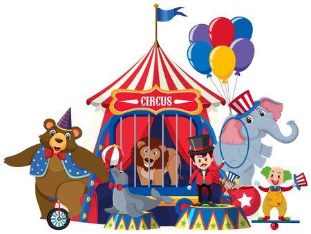 Ring master y animales de circo en la ilustración de fondo blanco