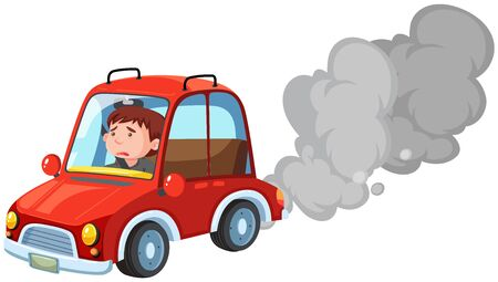 Man driving red car on white background illustration
