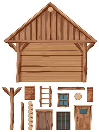 Wooden cottage and set of windows and doors illustration