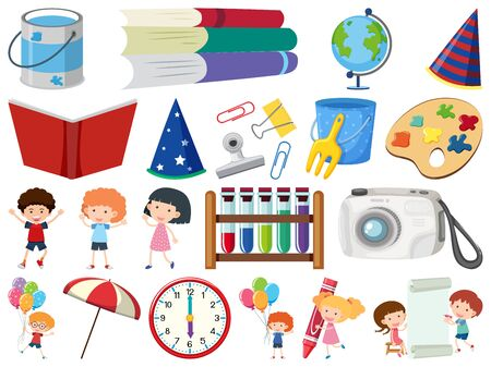 Set of isolated objects theme school items illustration