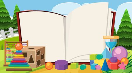 Border template with many toys in the park illustration Ilustracja