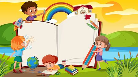 Frame template with many kids in the park illustration