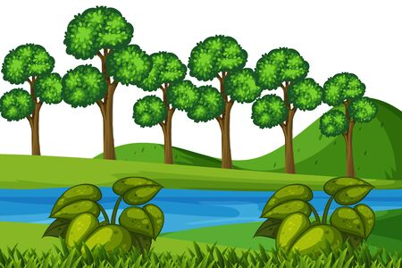Scenery background of river and forest illustration