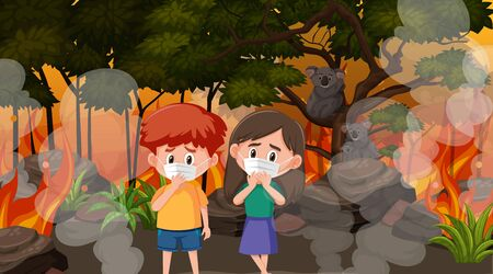 Scene with children and animals in the big wildfire illustration Illustration