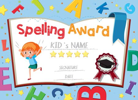 Certificate template for spelling award with alphabets in background illustration