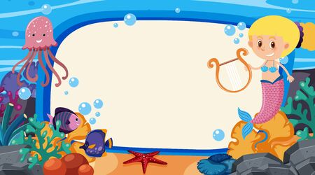 Frame template design with sea creatures  under the ocean illustration Ilustracja