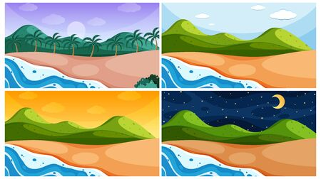 Background scene with oceans at different times illustration Фото со стока - 139179371