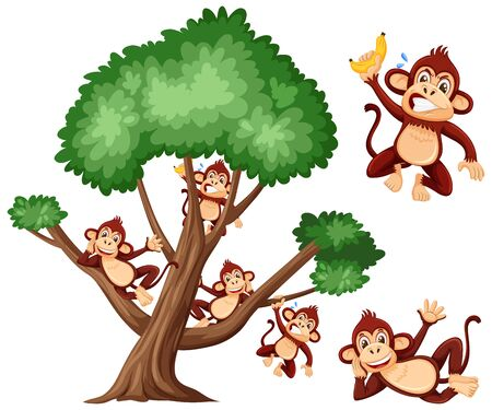Big tree and cute monkeys on white background illustration