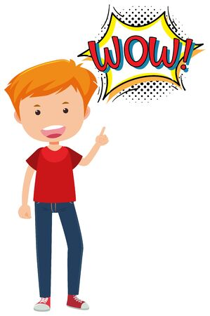 Man with expression word wow illustration