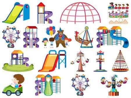 Große Reihe von isolierten Objekten von Kindern und Zirkusillustrationen